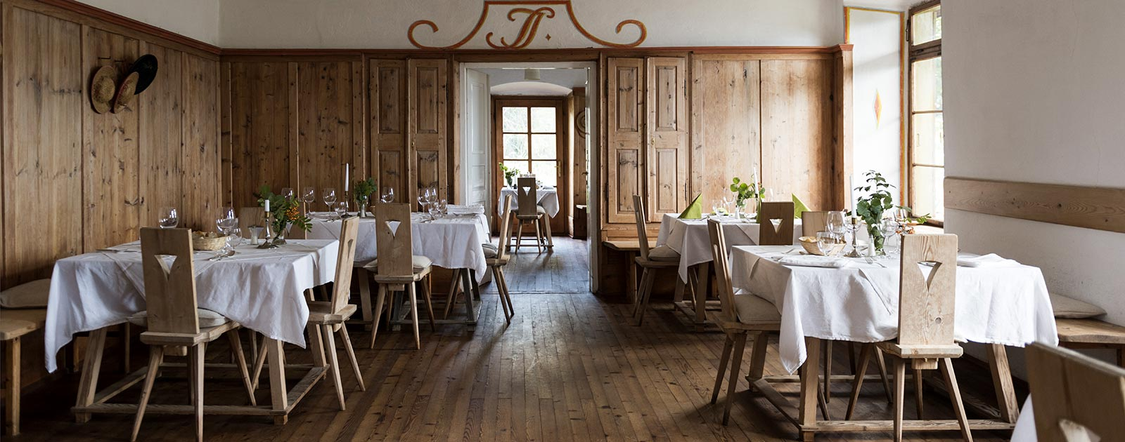 spacious dining room at Hotel Briol in Barbiano