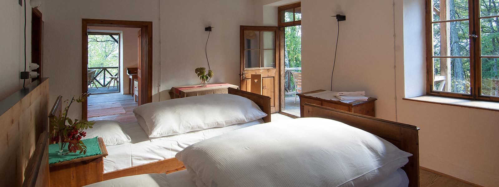 the beds in the apartment Fritje of Hotel Briol in Barbiano